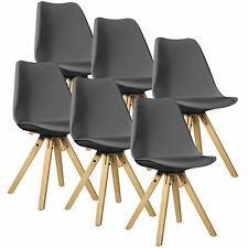 [en.casa] Set de 6 sillas de comedo gris madera plástico piel sintética diseño