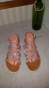 Fitflop Strata Gladiator Sandals Whipstitch Dusky Pink size 10 $129