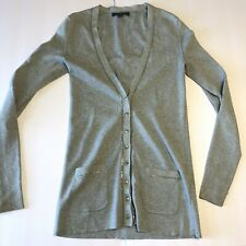 Banana Republic Cardigan Sweater - Size XS - Grey with Metal Trim V-Neck