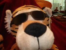 "Rare Plush Tiger Wearing  Sunglasses  K & K 13"" x 4"" NWT"