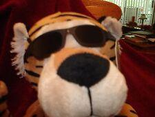 "Rare Plush Tiger Wearing  Sunglasses  K & K 13"" x 4"" NWT"