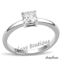 Women's Princess Cut CZ Solitaire Stainless Steel Engagement Ring Size 5-10