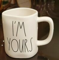 """Rae Dunn Valentine's """"I Am Yours """"Ceramic Double Sided Coffee Mug White"""