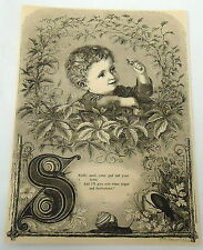 1882 magazine engraving w/ poem ~ Little Boy Holds Snail