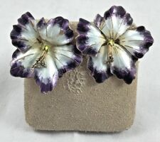 Exquisite S925 Marked Sterling & Enamel Large Floral Pierced Earrings