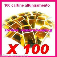 100 CARTINE ALLUNGAMENTO DORATE NAIL RICOSTRUZIONE UNGHIE UV GEL SMALTO ART KIT