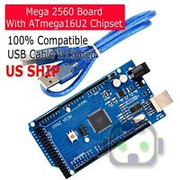 USA SHIP MEGA 2560 R3 Board ATmega2560-16AU CH340G + USB Cable for Arduino