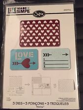 Sizzix Vita Made Simple LOVE 3 STAMPI NUOVI / SIGILLATI 659752