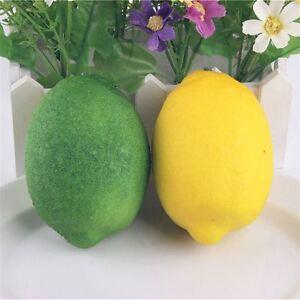 3 pcs Artificial Lemon Ornament Plastic Fruit  Christmas Wedding Decor 10*7cm