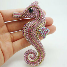 Pretty Charming Hippocampus Animal Seahorse Brooch Pin Pink Rhinestone Crystal