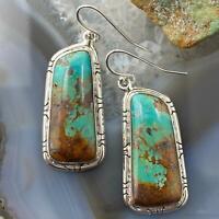 Native American Sterling Silver Turquoise Dangle  Earrings For Women