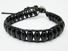 Para Hombre Wrap Pulsera todo negro ágata Perlas Moda Cuero Pulsera