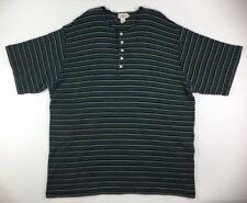 c1e81679 J Crew Short Sleeve Henley Shirt Green Blue Striped Mens XLT