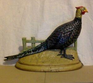 Vintage Cast Iron Door Stop. Pheasant. Multi Color.