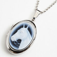 925 Sterling Silver Oval Locket Pendant Horse Agate Cameo w/SV925 Chain 19.5""