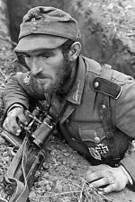 WWII B&W Photo Elite German Gebirgsjager w MP40 WW2 World War Two /2059