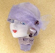 LADY HEAD woman FACE Porcelain-Look Resin Brooch Pin purple lavender handmade RS