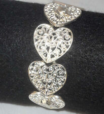 Silverplated Filigree Hearts Bracelet w Sp Greyhound Dog Charms Whippet Ig