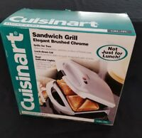 NEW Brushed Chrome Dual Grill Sandwich Bread french toast Toaster Panini Maker