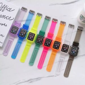 Transparent Sport Silicone Watch Band Strap for Apple Watch Band Series 6 1 2345