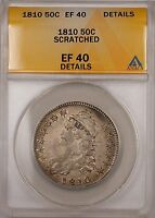 1810 Capped Bust Silver Half Dollar 50c Coin ANACS EF-40 Details Scratched