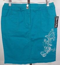 NWT Olivia & Martin Green Teal Skirt Size M Medium Women's Embroidered $72 New