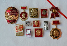 Lenin USSR badge Lot 12x Russian communist pins set Soviet KPSS VLKSM vintage
