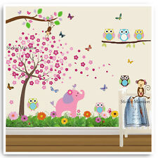 Owl Wall Stickers Zoo Animal Monkey Jungle Tree Nursery Baby Room Decal Art