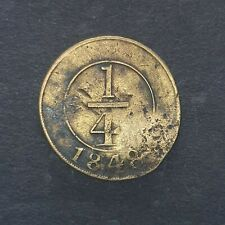 Dominican Republic 1848 1/4 real crosslet Brass Coin