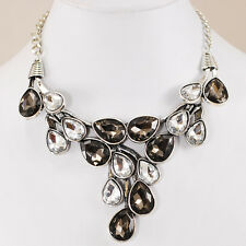 Ny6design Gorgeous Evening Necklace w/Crystal Accents and Silver Tone Clasp 20""