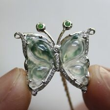 Certified Natural Type A Icy Green Jadeite Jade Butterfly Diamonds Gold Pendant