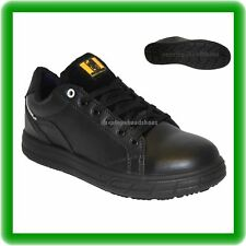 MENS BLACK LIGHT WEIGHT SKATER LEATHER WORK SAFETY STEEL TOE CAP TRAINERS SZ 7