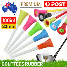 100Pack 83MM Rubber Golf Tees With Cushion Top Plastic Tee Multi Color Durable