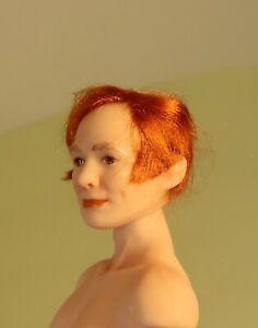 miniature porcelain dollhouse doll handsome man auburn hair sideburns anatomical