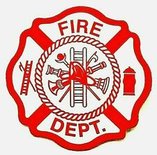 "FIRE DEPARTMENT Maltese Cross Shape Highly Reflective Firefighter 2"" Decal"