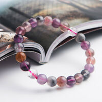 7mm Natural Colorful Auralite 23 Round Beads Cacoxenite Healing Bracelet AAA