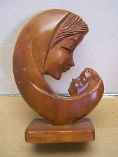 1960s Virgin Madonna and Child Carved Wooden Altar Statue - Ecuador