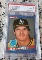JOSE CANSECO 1986 Donruss RATED ROOKIE Card RC PSA 9 MINT 40-40 $ Oakland A's $