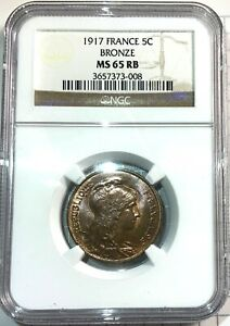 France 5 Centimes 1917 NGC MS65RB - Gorgeous Gem Example!!