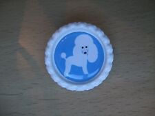 Handmade Poodle Dog Brooch Bottle Cap Badge White Blue Puppy Cartoon Toy Mini