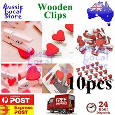Wooden Clip Red Heart Pegs Cute Mini Party Wood Lolly Bag Set Gift Craft 10 pcs