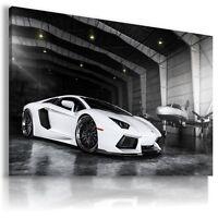 LAMBORGHINI AVENTADOR WHITE AIRPLANE Cars Large Wall Art Canvas AU508 MATAGA