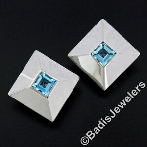 Chopard 18k White Gold 5.40ct Step Cut Blue Topaz Large Square Pyramid Earrings