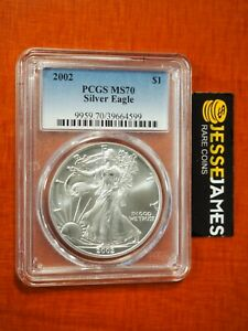 2002 $1 AMERICAN SILVER EAGLE PCGS MS70 CLASSIC BLUE LABEL BETTER DATE!