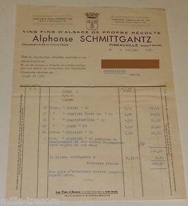 FACTURE juillet 1961 : VINS FINS D'ALSACE Alphonse SCHMITTGANTZ à RIBEAUVILLE