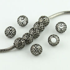 10pcs Mesh Net Round Ball Big Hole Spacer Charm Beads 10mm for European Bracelet
