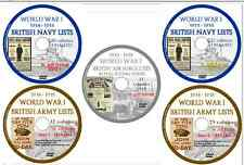 World War 1 British Army Royal Navy Air Force Lists 1914-1918 134 Volumes 5 DVDs