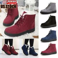Women's Winter Warm Lace Up Fur Lined Ankle Boots Casual Flat Snow Boots Shoes