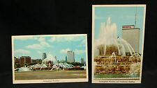 Buckingham Fountain & Prudential Building Vintage 1960s Postcard Chicago IL