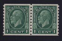 Canada Sc #205 (1933) 1c dark green Medallion Coil Pair VF NH